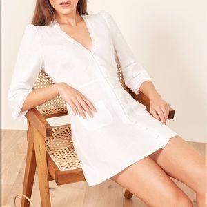 REFORMATION ELOISE LINEN DRESS white ivory size 12